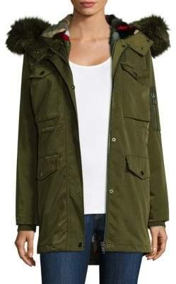 Jocelyn Fox Fur-Trimmed Mink-Lined Cargo Coat