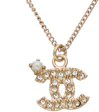 Chanel Silver-Tone & Crystal Cc Dangle Necklace