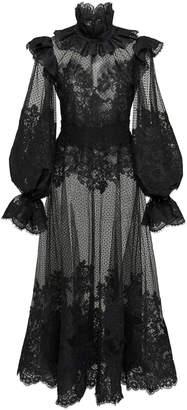 Zimmermann Ruffled Flocked Tulle Maxi Dress Size: 1