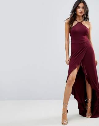 Asos Design Ruffle Thigh Spilt High Neck Maxi Dress