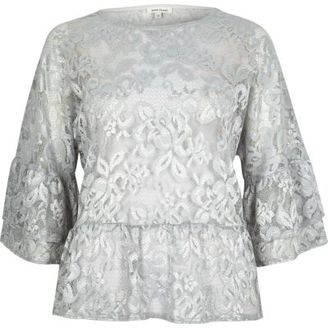 River Island Womens Light grey lace flared top