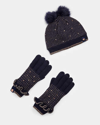 Ted Baker RILIZA Birdseye hat and gloves set
