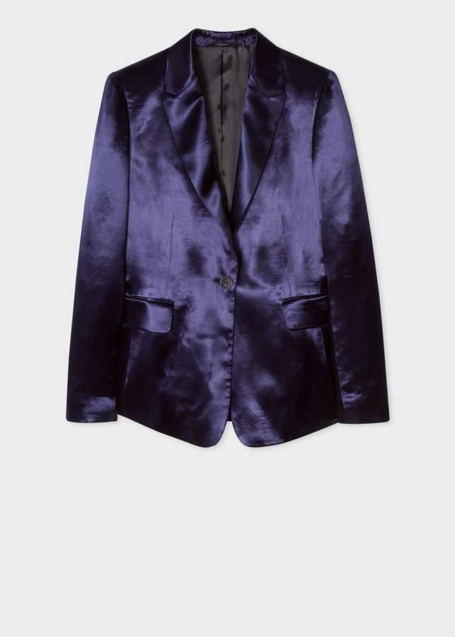 Women's Slim-Fit Navy Satin Tuxedo One-Button Blazer