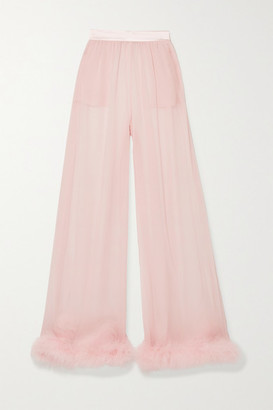 Dolce & Gabbana Feather And Satin-trimmed Silk-chiffon Wide-leg Pants - Baby pink