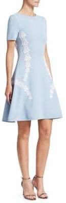Oscar de la Renta Short Sleeve Embroidered Tulip A-Line Dress