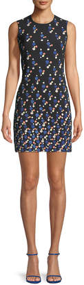 Peter Pilotto Sleeveless Dotted Cady Satin Sheath Dress