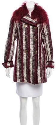 Tommy Hilfiger Tweed Faux Fur-Trimmed Coat