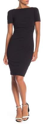 Modern American Designer Short Sleeve Side Ruched Dress