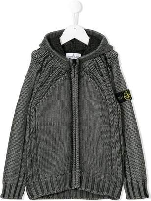 Stone Island Junior hooded knit jacket