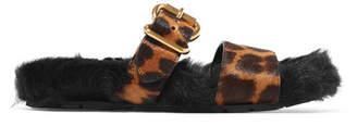Prada Leopard-print Calf Hair And Shearling Slides - Leopard print