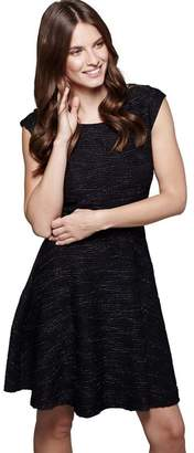 Yumi London - Black Textured 'Coral' Mini Party Skater Dress