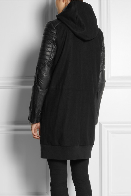 Karl Lagerfeld Omer leather-trimmed wool-blend parka