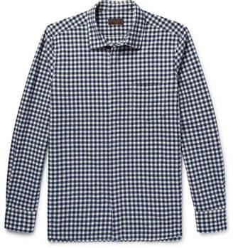 Altea Slim-fit Gingham Stretch Cotton-blend Seersucker Shirt