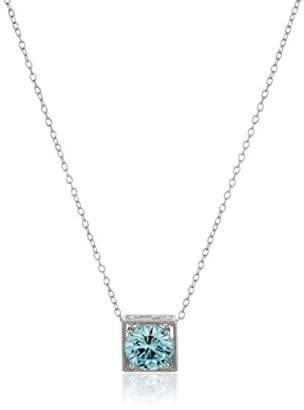 Rhodium Plated Sterling Silver Round Baby Cubic Zirconia 7mm Cushion Solitaire Pendant Necklace