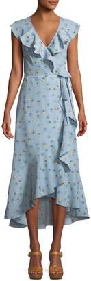 Max Studio Ruffle-Trim Crepe Wrap Midi Dress