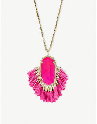 Kendra Scott Betsy 14ct gold-plated pink agate tassel necklace