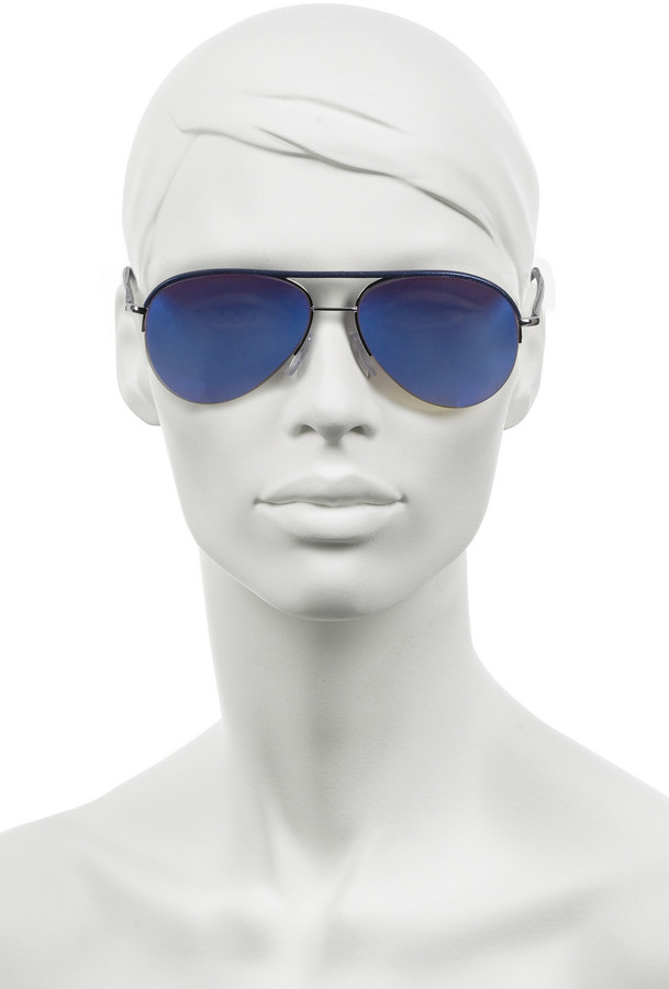 Cutler and Gross Leather-trim mirrored aviator sunglasses