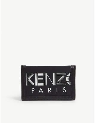 Kenzo Striped logo leather trim wallet
