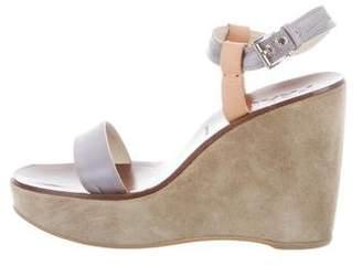 Prada Satin Platform Wedge Sandals