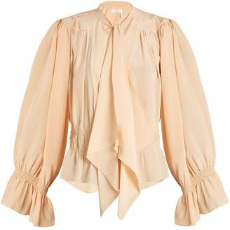 Chloé Tie-neck gathered silk crepe de Chine blouse