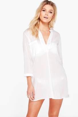 boohoo Petite Oversized Cotton Beach Shirt