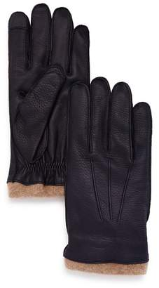 Bloomingdale's The Men's Store at Knit-Cuff Leather Tech Gloves - 100% Exclusive