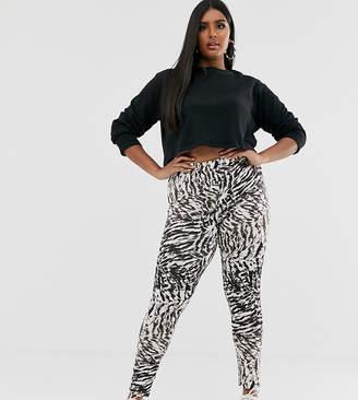 Asos DESIGN Curve legging in gray tiger print