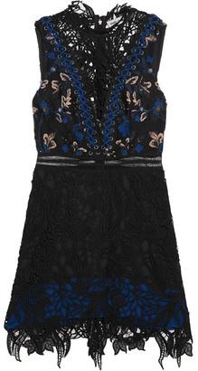 Self-Portrait - Clementine Guipure Lace Mini Dress - Black $495 thestylecure.com