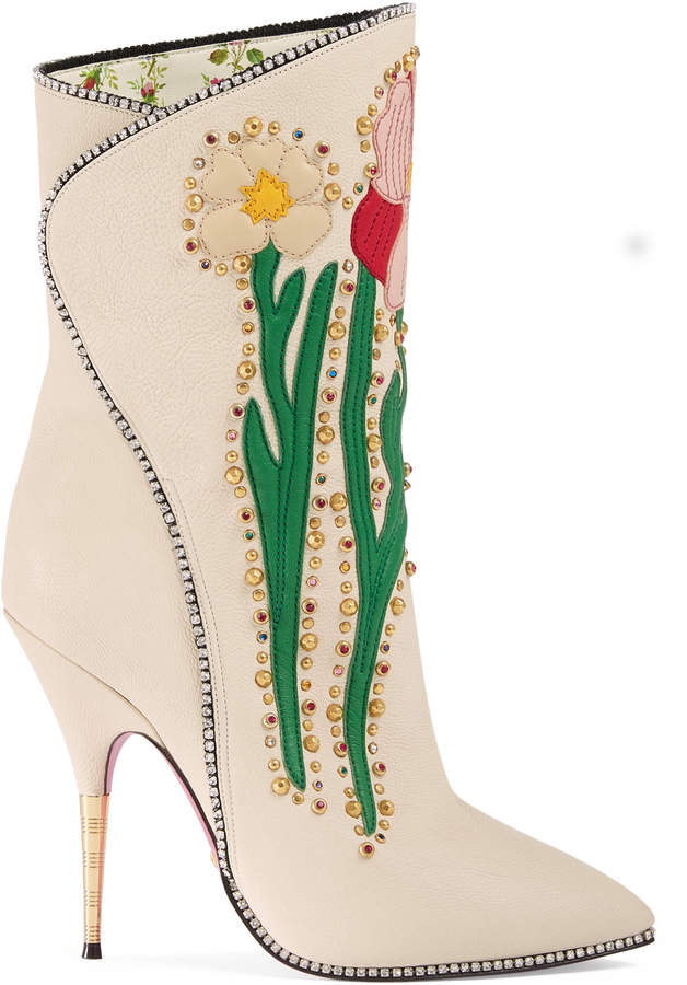 Flowers intarsia leather boot