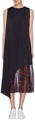 Anna Beam Asymmetric drape graphic print mesh hem dress