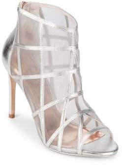 Ted Baker Crystal Leather Peep Toe Booties
