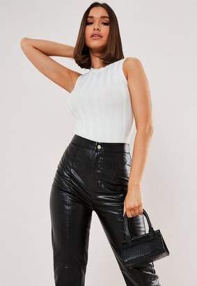 Missguided Tall White Extreme Ribbed Crew Neck Bodysuit