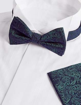 Marks and Spencer Pure Silk Paisley Bow Tie & Pocket Square Set