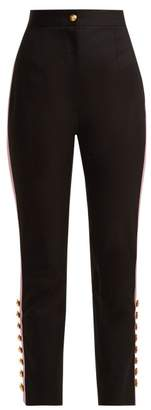 Dolce & Gabbana Side Stripe Gabardine Trousers - Womens - Black Pink