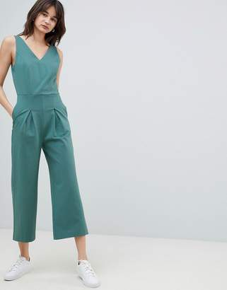 Selected V Neck Jumpsuit With Pleat Detail