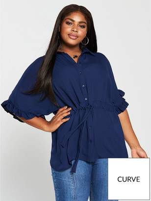 10d6266d04ae4 at Littlewoods · V By Very Curve Ruffle Sleeve Channel Waist Blouse - Navy