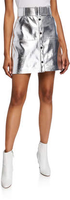 MSGM Belted Faux-Leather Short Skirt