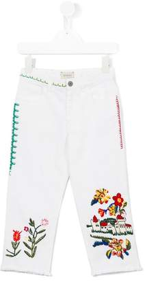 Gucci Kids floral embroidered jeans