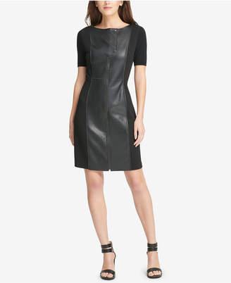 DKNY Mixed-Media Shift Dress