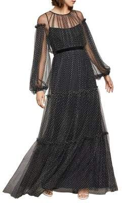 BCBGMAXAZRIA Dotted Tulle Puff Gown