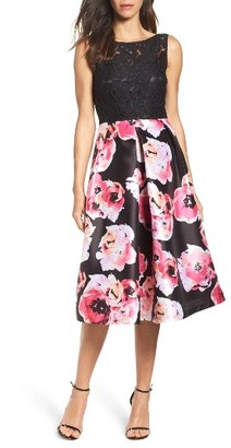 Women's Ellen Tracy Lace & Print Satin Midi Dress $188 thestylecure.com