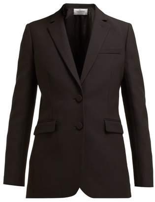 Valentino Single Breasted Wool And Silk Blend Blazer - Womens - Black