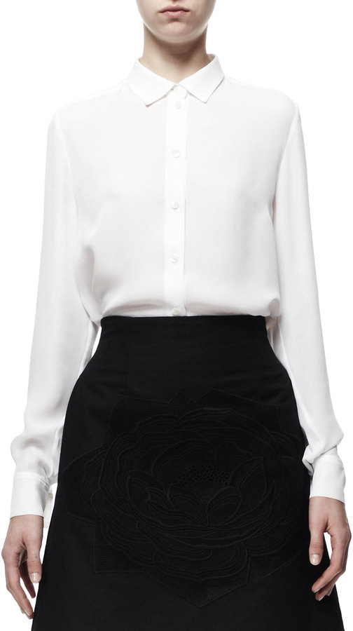 Stella McCartney Wilson Button-Front Silk Blouse, White