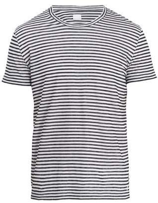 120% Lino Crew Neck Striped Linen Jersey T Shirt - Mens - White Multi