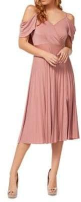 Dex Short Sleeve Cold-Shoulder Crossover Pleated Dress