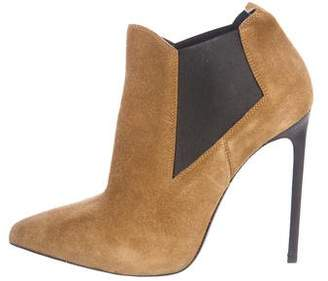 Saint Laurent Suede Pointed-Toe Booties