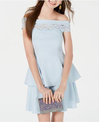 Teeze Me Juniors' Off-The-Shoulder Lace-Detail Dress