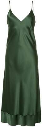 Lee Mathews Rose satin V-neck slip dress