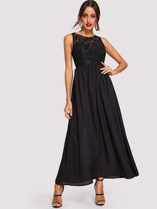 Shein Floral Lace Top Flowy Maxi Dress