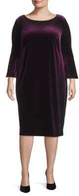 Calvin Klein Plus Bell-Sleeve Velvet Dress